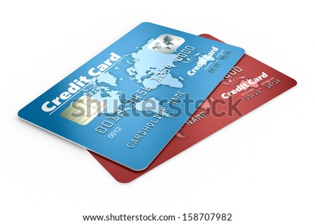 Credit cards isolated on white background  - stock photo
