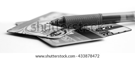 Credit cards on a white background - stock photo