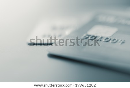 Credit cards up close - stock photo