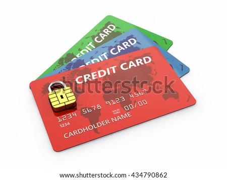 Credit cards with padlock chip isolated on white , Safe and secure online banking , 3d illustration