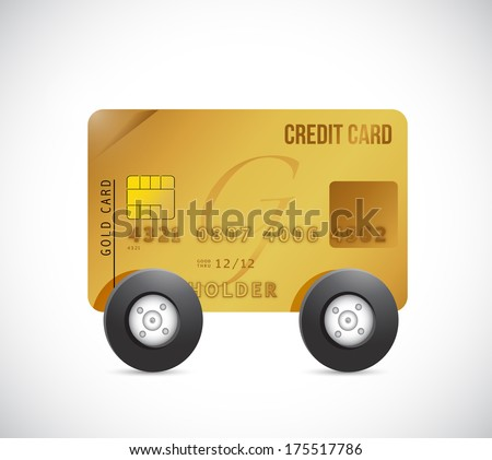 credit cart on wheels. illustration design over a white background - stock photo