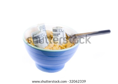 Credit crunch, financial crisis, in UK and US markets, crunch of cereal - stock photo
