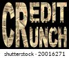 Credit Crunch text with Japanese Yen background - stock photo