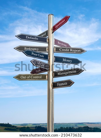 Credit Report Going in the right direction, Signpost concept. - stock photo