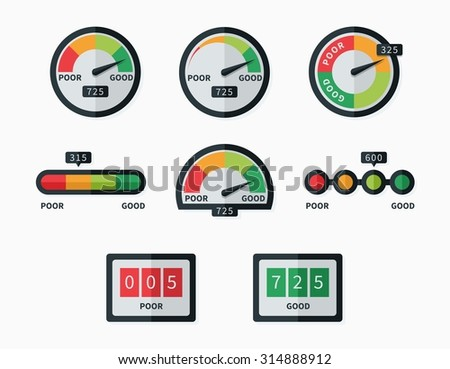 Credit score indicators and gauges - stock photo