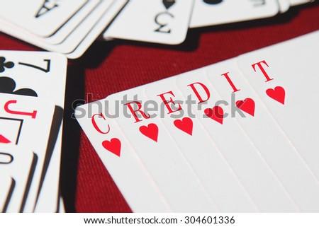 CREDIT word written on card  - stock photo