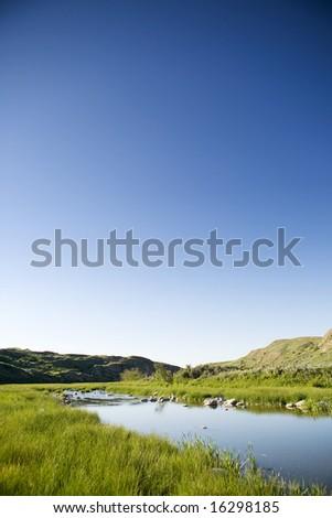 Creek hill in beautiful Saskatchewan nature - stock photo