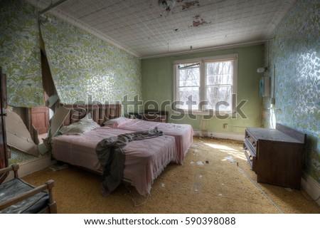 Creepy Haunted Room Old Abandoned Hotel Stock Photo Royalty Free