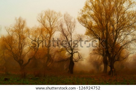 Creepy landscape painting showing dark forest in autumn. - stock photo