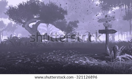 Creepy night forest with silhouette of a grim reaper in the distance. Monochromatic 3D illustration was done from my own 3D rendering file. - stock photo