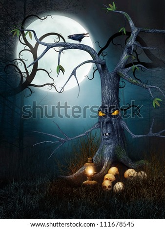 Creepy tree with skulls at night