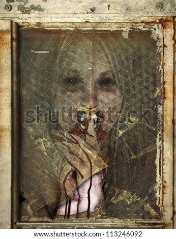 Creepy Vampire like Woman with bloody hands and mouth behind a rusted broken window - stock photo
