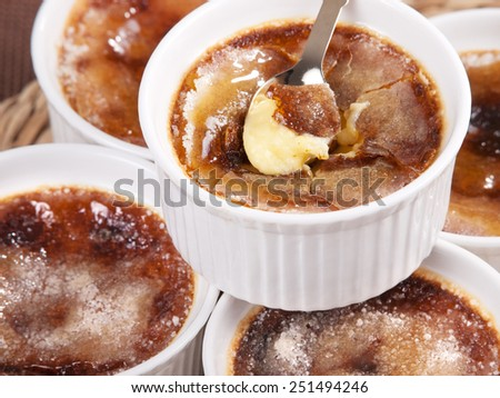 Creme Brulee, one portion, close up - stock photo