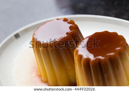Creme brulee. Traditional French and Italian vanilla cream dessert with caramelized sugar. Delicious, sweet, tasty dish. Copy space - stock photo