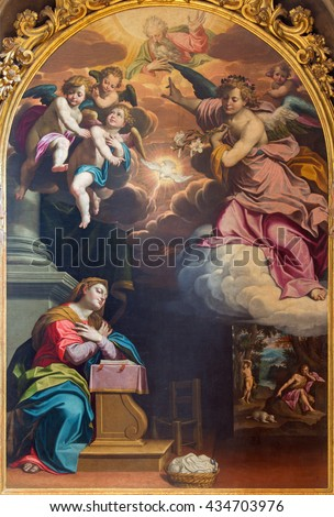 CREMONA, ITALY - MAY 24, 2016: The Annunciation painting by Giovanni Battista Trotti (1555 - 1619) in Cathedral of Assumption of the Blessed Virgin Mary.