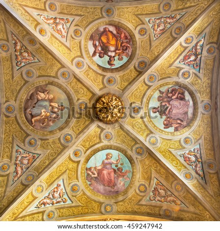CREMONA, ITALY - MAY 25, 2016: The ceiling fresco of symbolic four virtues in The Cathedral by unknown artist of 17. cent.