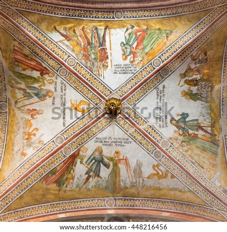 CREMONA, ITALY - MAY 25, 2016: The gothic ceiling fresco in left transept of The Cathedral with the Old Testament scenes.