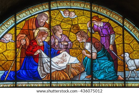 CREMONA, ITALY - MAY 24, 2016: The Nativity on the windowpane of Chiesa di Santa Agata from end of 19. cent. by unknown artist.