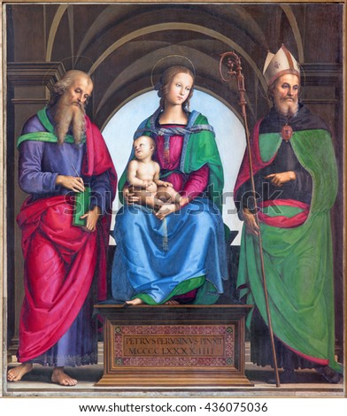 CREMONA, ITALY - MAY 24, 2016:  The panting of Madonna, St. John the Evangelist and St. Augustine by Petrus Perusinus (1493) in Cathedral of Assumption of the Blessed Virgin Mary. - stock photo