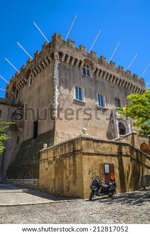 Crenellated Chateau - Museum de Cagnes (built in 1310 by Grimaldi). Cagnes-sur-Mer (between Nice and Cannes) - commune of Alpes-Maritimes department in Provence Alpes - Cote d'Azur region, France. - stock photo