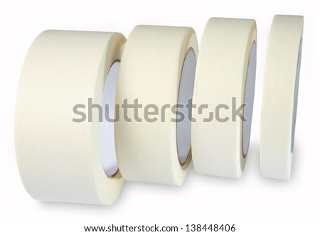 Crepe-adhesive tape, Masking tape, white, paper, four are on the side of the roll, isolated on white background. - stock photo