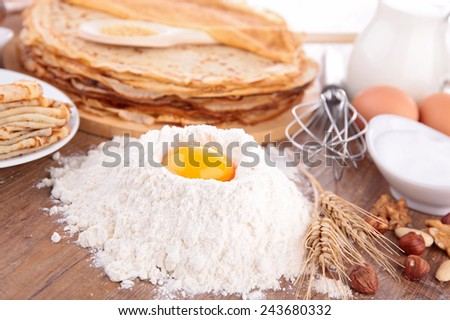 crepe and ingredients - stock photo