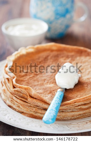 Crepes of bran and sour cream, selective focus  - stock photo