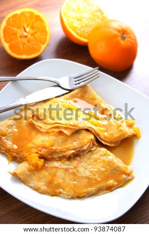 Crepes suzette - pancakes with orange sauce