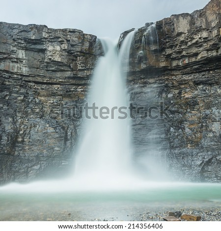 Crescent Falls Hiking Trail in alberta canada  - stock photo