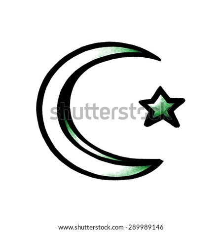 crescent moon and star symbol; Islam sign  - stock photo