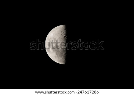 Crescent Moon in the southern hemisphere - stock photo