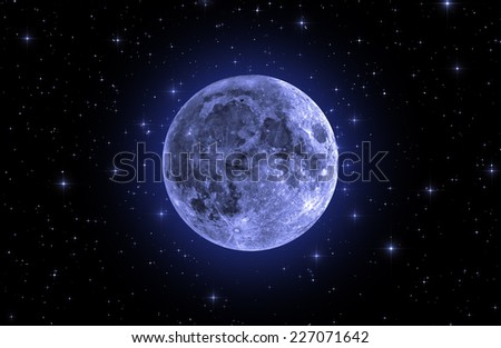 Crescent Moon on a dark starry skies.  - stock photo