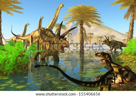 Cretaceous Swamp - Two Dilong dinosaurs guard their nest when a Coahuilaceratops dinosaur comes over to investigate. - stock photo