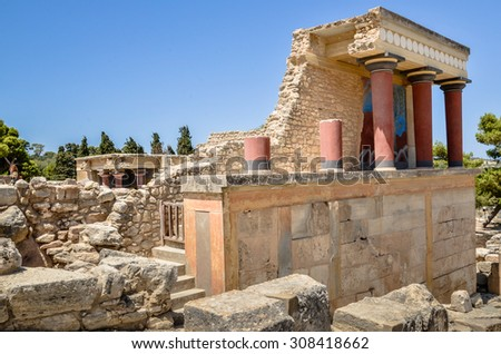 CRETE, GREECE - August 12, 2013: Knossos Palace the ceremonial and political centre of the Minoan civilization and culture