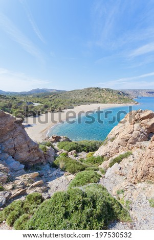 Crete - Greece - In the mountains of Vai Beach - stock photo