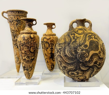 CRETE, GREECE - MAY 29, 2016: Clay vessels decorated with octopus. Heraklion Archaeological Museum contains the most notable collection of artifacts of the Minoan civilization