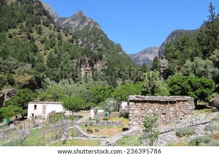 Crete island in Greece. Abandoned village in Samaria Gorge in Lefka Ori mountains.