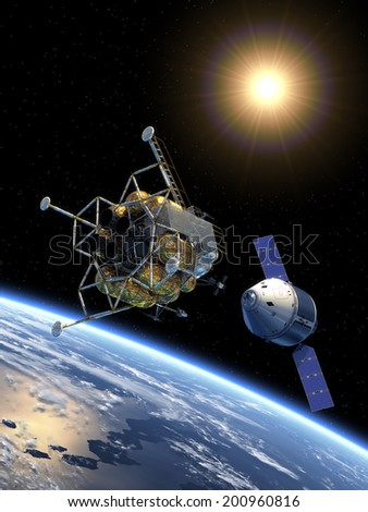 Crew Exploration Vehicle Docking. 3D Scene.  Elements of this image furnished by NASA.  - stock photo