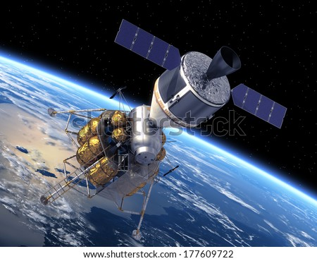 Crew Exploration Vehicle Orbiting Earth. 3D Scene. Elements Of This Image Furnished By NASA.