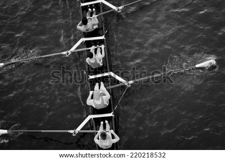 Crew Team in Competition - stock photo