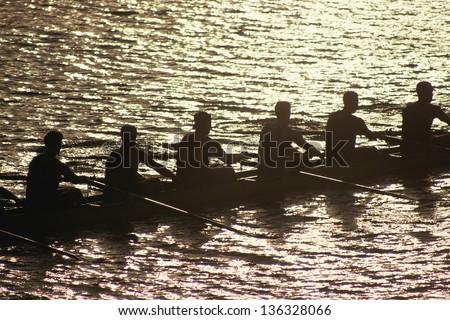 Crew team in water - stock photo