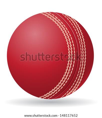 cricet ball illustration isolated on white background - stock photo