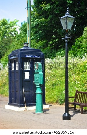 CRICH, ENGLAND - JULY 5. The National Tramway Museum includes street furniture like this police call box from before the advent of personal radio's on July 5, 2016, Crich, England. - stock photo