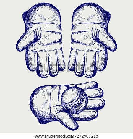 Cricket Ball Wicket Keeping Glove Doodle Stock Illustration