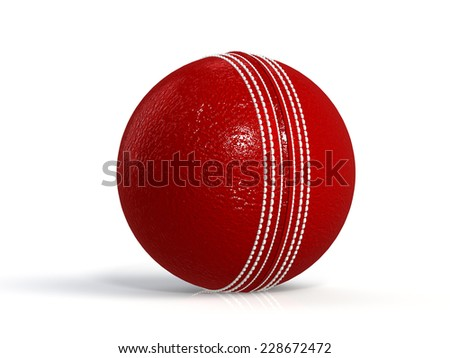 cricket ball isolated on white. 3D render - stock photo