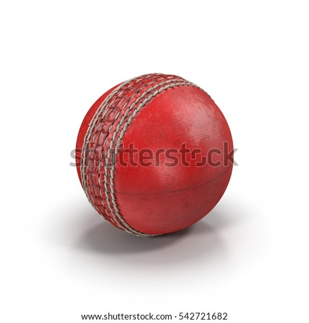 Cricket Ball on white. 3D illustration