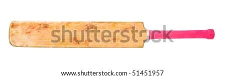 Cricket bat with bright pink handle from front - stock photo