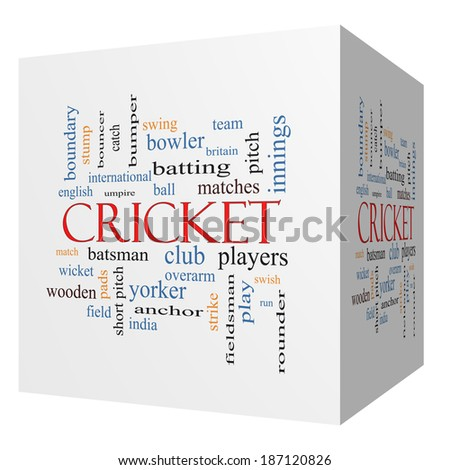 Cricket 3D cube Word Cloud Concept with great terms such as batsman, wicket, ball and more. - stock photo