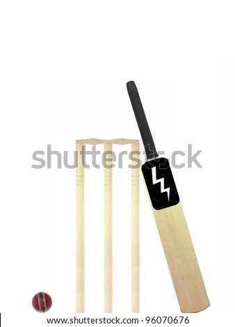 Cricket gear isolated against a white background - stock photo