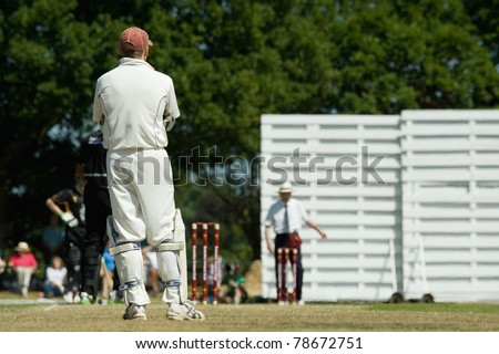 cricket on a picturesque English village green on a bright summers day - stock photo